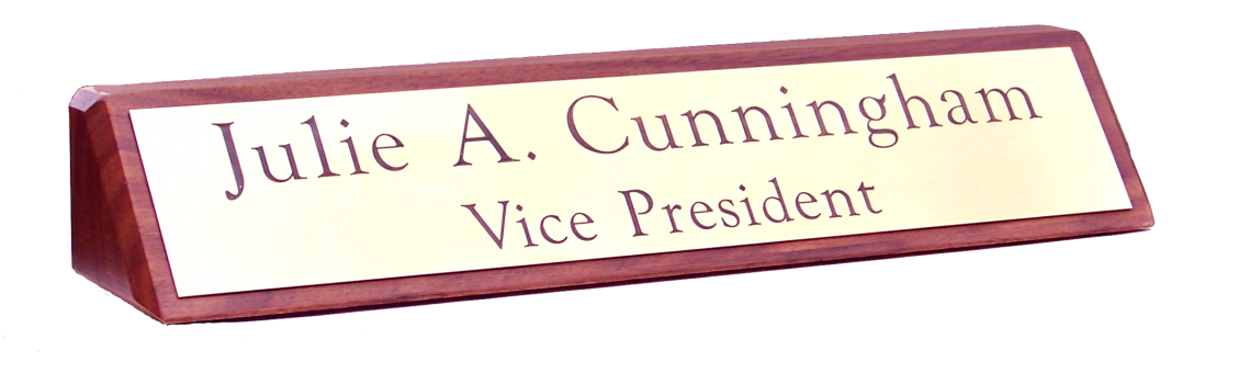 "Walnut Desk Plaque with Satin Brass Engraved 1 3/4"" x 9 1/2"" Name Plate"