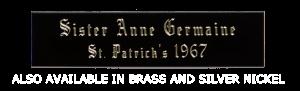 "Medium Rectangular Glossy Black Name Plate Brass with adhesive, .020"" Thick"