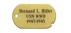 Satin Brass Dog Tag Nameplate with adhesive