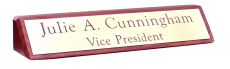 """Walnut Desk Plaque with Satin Brass Engraved 1 3/4"""" x 9 1/2"""" Name Plate"""