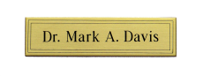 "Small Satin Brass Rectangular Name Plate with Square Corners, Adhesive and Decorative Lines, .032"" Thick"